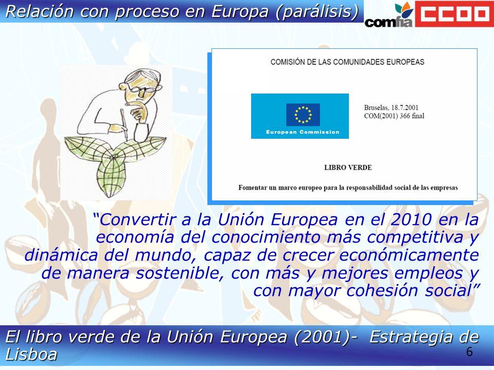 El libro verde de la Unión Europea (2001)- Estrategia de Lisboa Convertir a la Unión Europea en el 2010 en la economía del conocimiento más competitiva y dinámica del mundo, capaz de crecer económicamente de manera sostenible, con más y mejores empleos y con mayor cohesión social 6 Relación con proceso en Europa (parálisis)