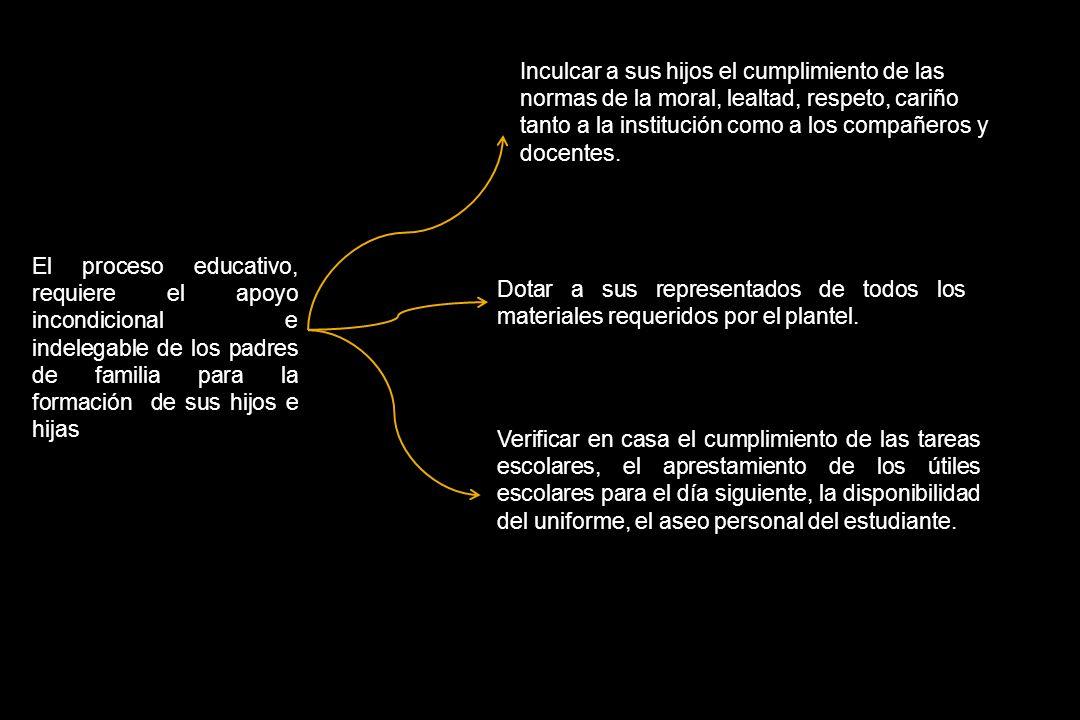 RESPONSABILIDADES Y COMPROMISOS QUE ASUMEN LOS PADRES DE FAMILIA El proceso educativo, requiere el apoyo incondicional e indelegable de los padres de
