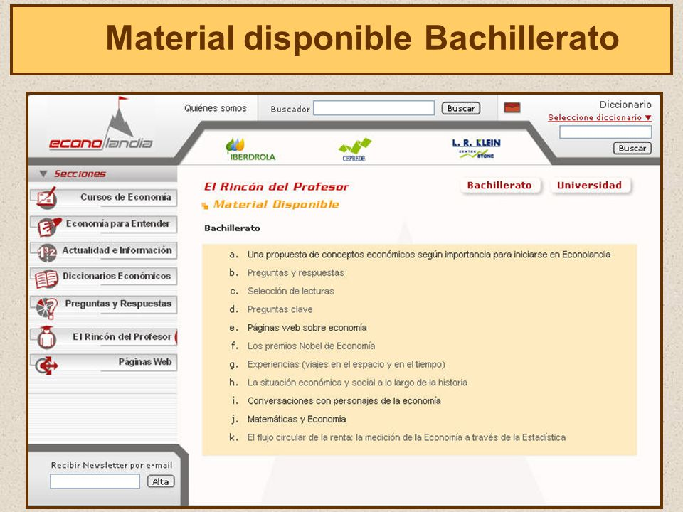El Material disponible Bachillerato