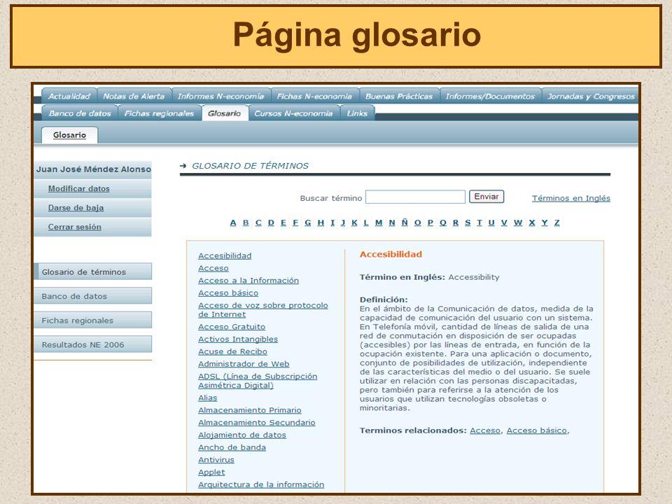 El Página glosario