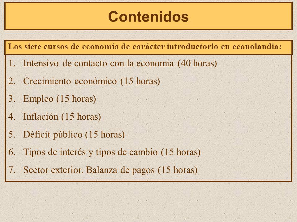 Contenidos Los siete cursos de economía de carácter introductorio en econolandia: 1.Intensivo de contacto con la economía (40 horas) 2.Crecimiento económico (15 horas) 3.Empleo (15 horas) 4.Inflación (15 horas) 5.Déficit público (15 horas) 6.Tipos de interés y tipos de cambio (15 horas) 7.Sector exterior.