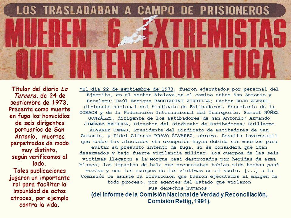 Titular del diario La Tercera, de 24 de septiembre de 1973. Presenta como muerte en fuga los homicidios de seis dirigentes portuarios de San Antonio,
