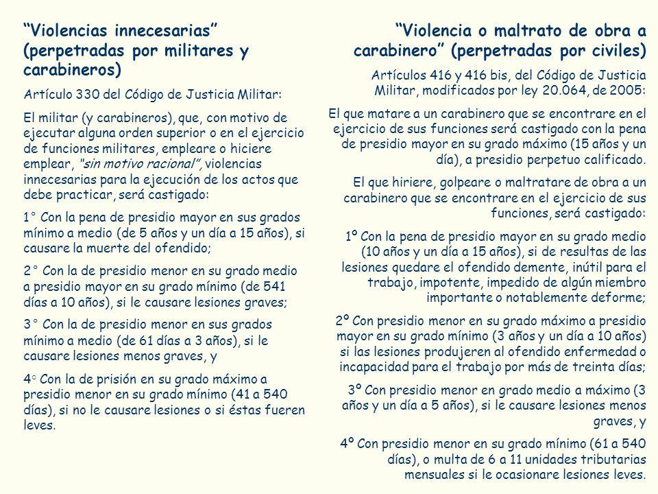 Violencias innecesarias (perpetradas por militares y carabineros) Artículo 330 del Código de Justicia Militar: El militar (y carabineros), que, con mo
