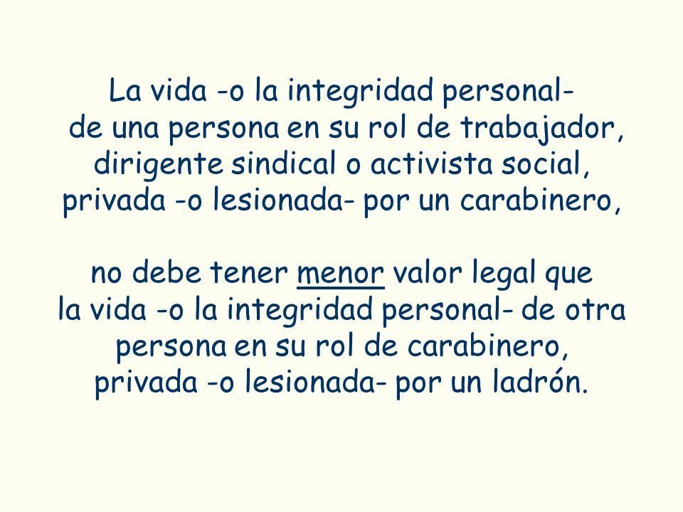 La vida -o la integridad personal- de una persona en su rol de trabajador, dirigente sindical o activista social, privada -o lesionada- por un carabin