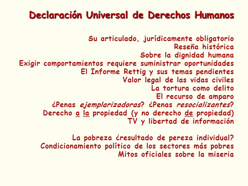 Declaración Universal de Derechos Humanos Su articulado, jurídicamente obligatorio Reseña histórica Sobre la dignidad humana Exigir comportamientos re