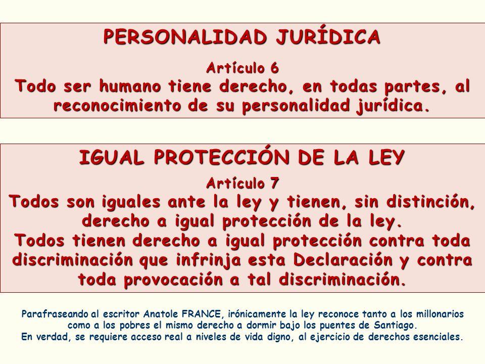 PERSONALIDAD JURÍDICA Artículo 6 Todo ser humano tiene derecho, en todas partes, al reconocimiento de su personalidad jurídica. Parafraseando al escri