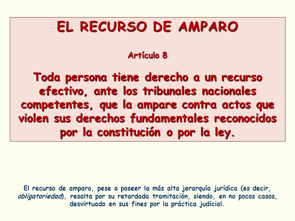 EL RECURSO DE AMPARO Artículo 8 Toda persona tiene derecho a un recurso efectivo, ante los tribunales nacionales competentes, que la ampare contra act