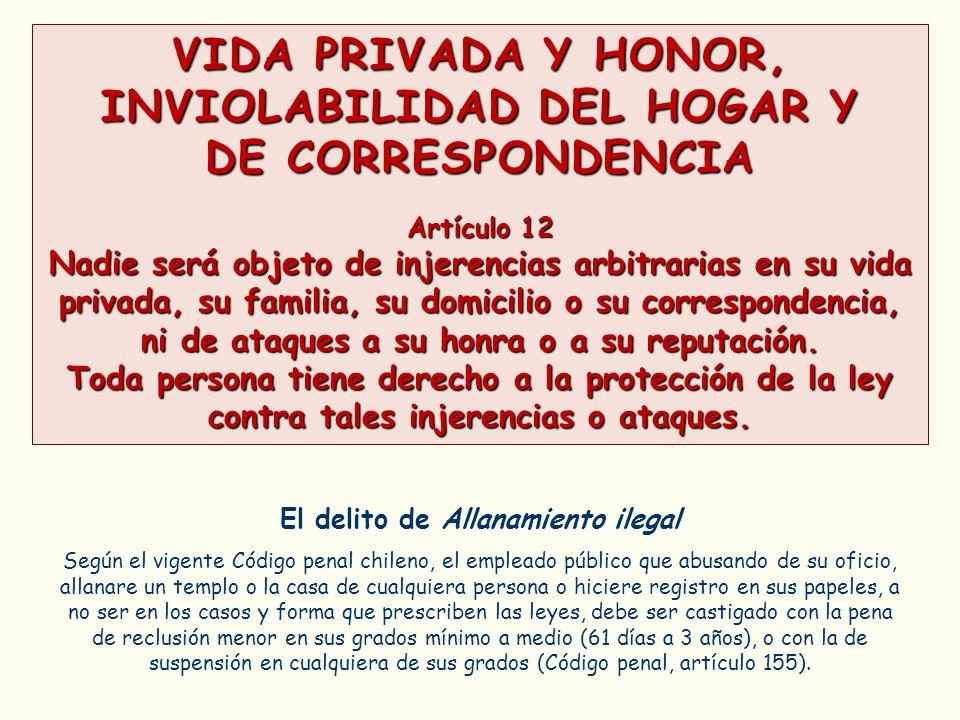 VIDA PRIVADA Y HONOR, INVIOLABILIDAD DEL HOGAR Y DE CORRESPONDENCIA Artículo 12 Nadie será objeto de injerencias arbitrarias en su vida privada, su fa