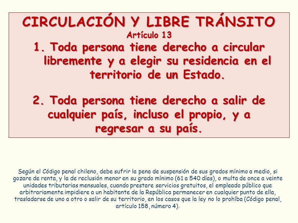 CIRCULACIÓN Y LIBRE TRÁNSITO Artículo 13 1.Toda persona tiene derecho a circular libremente y a elegir su residencia en el territorio de un Estado. 2.