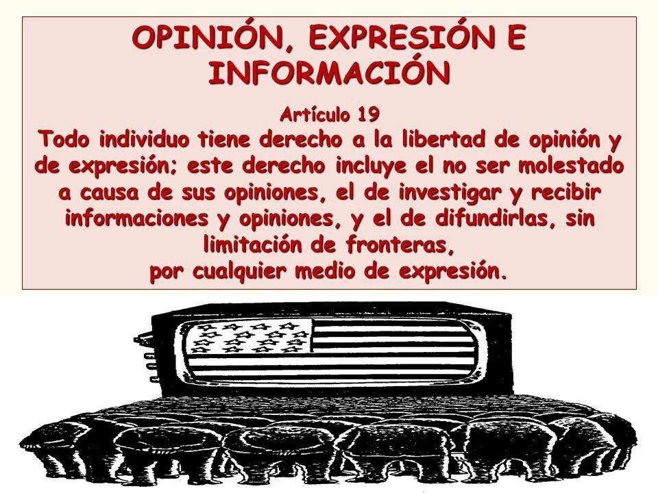 OPINIÓN, EXPRESIÓN E INFORMACIÓN Artículo 19 Todo individuo tiene derecho a la libertad de opinión y de expresión; este derecho incluye el no ser mole