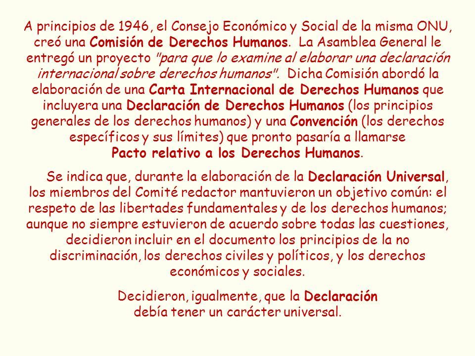 A principios de 1946, el Consejo Económico y Social de la misma ONU, creó una Comisión de Derechos Humanos. La Asamblea General le entregó un proyecto