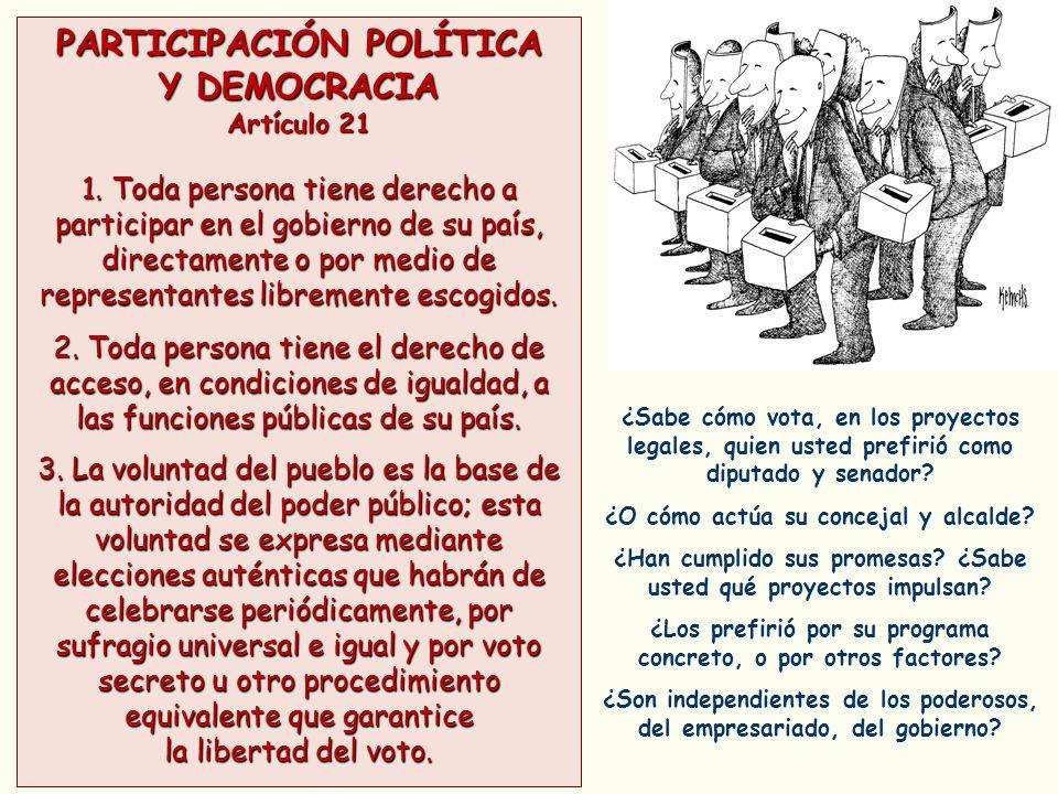 PARTICIPACIÓN POLÍTICA Y DEMOCRACIA Artículo 21 1. Toda persona tiene derecho a participar en el gobierno de su país, directamente o por medio de repr