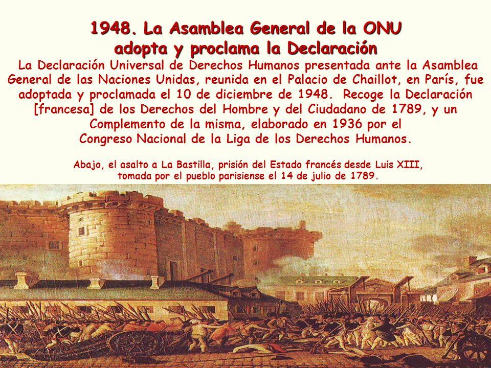 1948. La Asamblea General de la ONU adopta y proclama la Declaración La Declaración Universal de Derechos Humanos presentada ante la Asamblea General