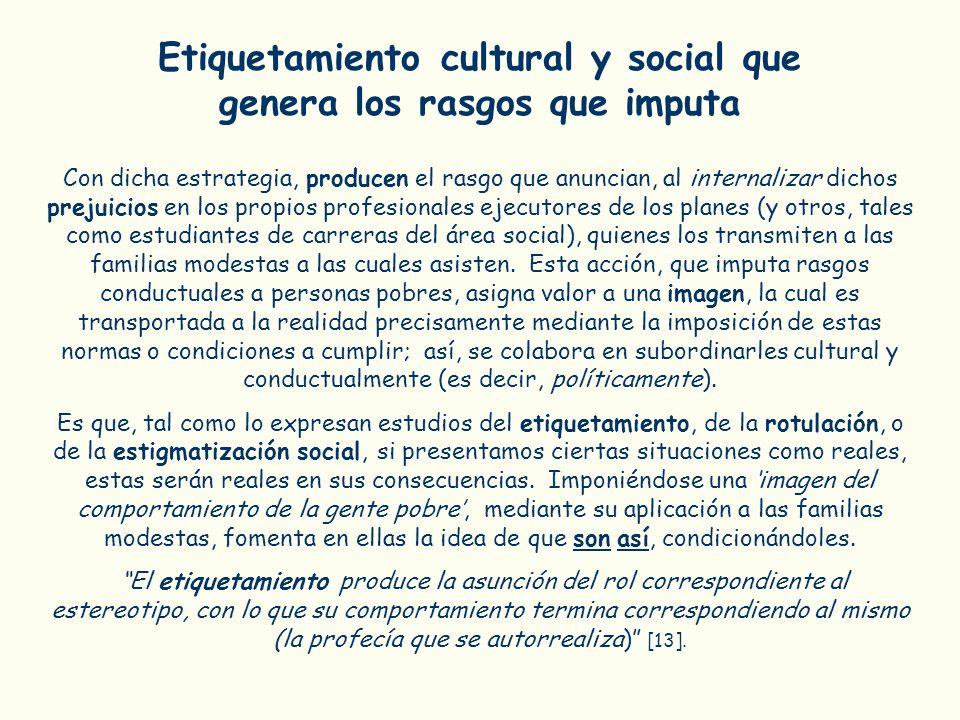 Etiquetamiento cultural y social que genera los rasgos que imputa Con dicha estrategia, producen el rasgo que anuncian, al internalizar dichos prejuic