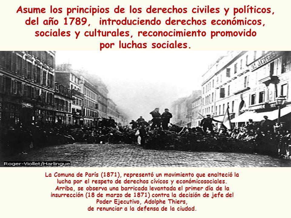 Asume los principios de los derechos civiles y políticos, del año 1789, introduciendo derechos económicos, sociales y culturales, reconocimiento promo