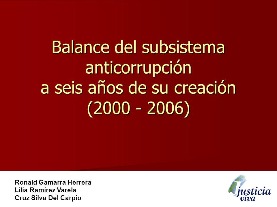 Ronald Gamarra Herrera Lilia Ramírez Varela Cruz Silva Del Carpio Balance del subsistema anticorrupción a seis años de su creación (2000 - 2006)