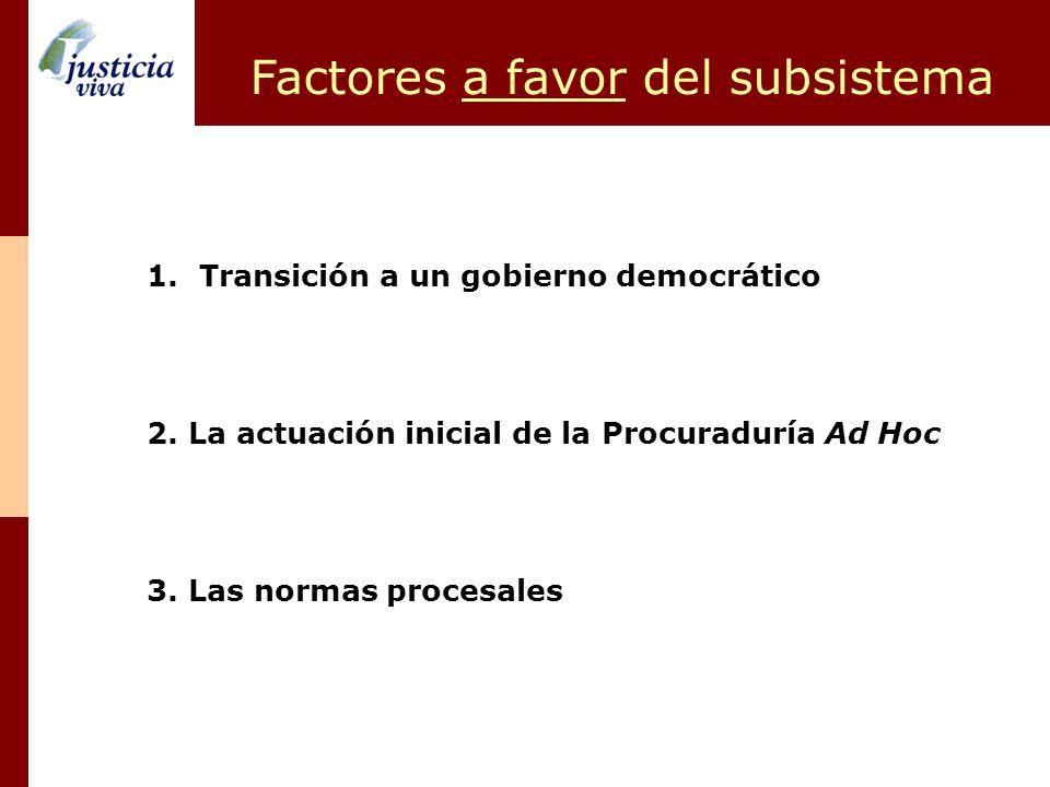 Factores a favor del subsistema 1.Transición a un gobierno democrático 2. La actuación inicial de la Procuraduría Ad Hoc 3. Las normas procesales