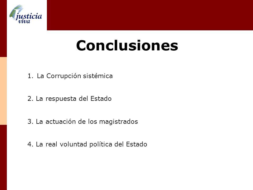 Conclusiones 1.La Corrupción sistémica 2. La respuesta del Estado 3. La actuación de los magistrados 4. La real voluntad política del Estado