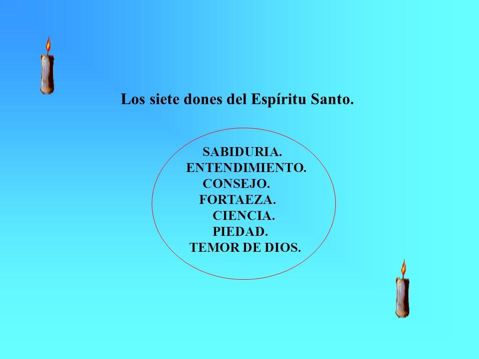 Los siete dones del Espíritu Santo. SABIDURIA. ENTENDIMIENTO. CONSEJO. FORTAEZA. CIENCIA. PIEDAD. TEMOR DE DIOS.