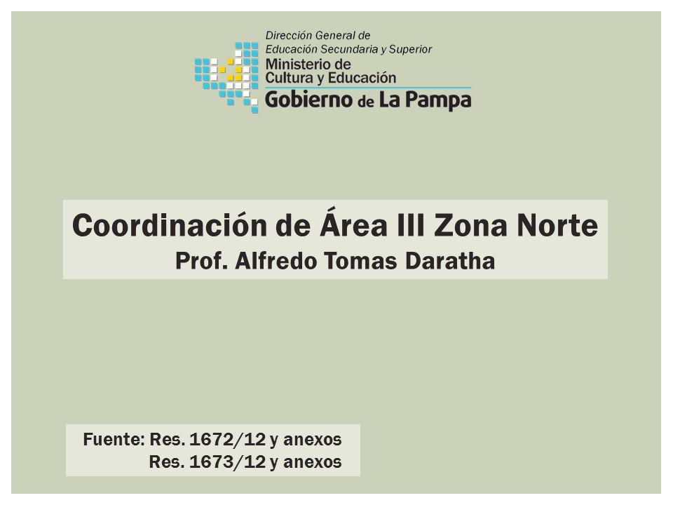 Coordinación de Área III Zona Norte Prof. Alfredo Tomas Daratha Fuente: Res. 1672/12 y anexos Res. 1673/12 y anexos