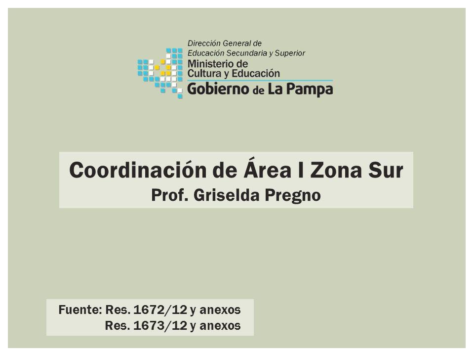 Coordinación de Área I Zona Sur Prof. Griselda Pregno Fuente: Res. 1672/12 y anexos Res. 1673/12 y anexos