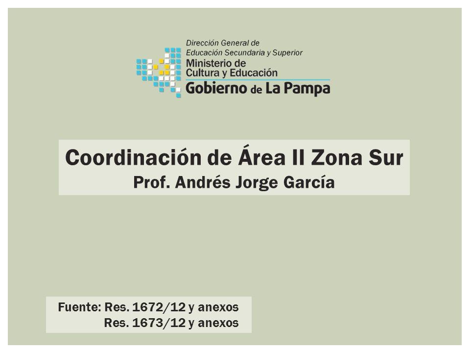 Coordinación de Área II Zona Sur Prof. Andrés Jorge García Fuente: Res. 1672/12 y anexos Res. 1673/12 y anexos