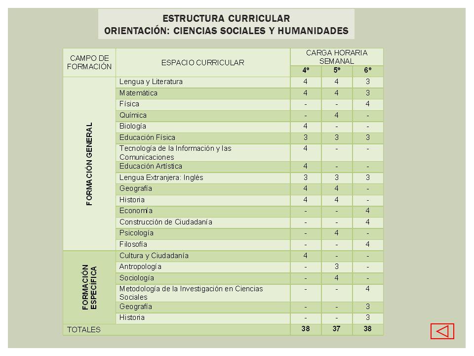 ESTRUCTURA CURRICULAR ORIENTACIÓN: CIENCIAS SOCIALES Y HUMANIDADES