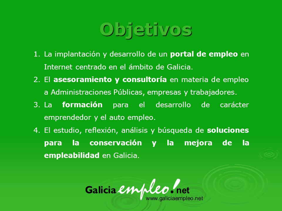 1.La implantación y desarrollo de un portal de empleo en Internet centrado en el ámbito de Galicia.