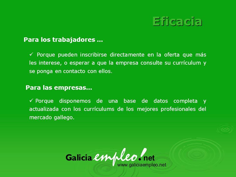 Porque disponemos de una base de datos completa y actualizada con los currículums de los mejores profesionales del mercado gallego.