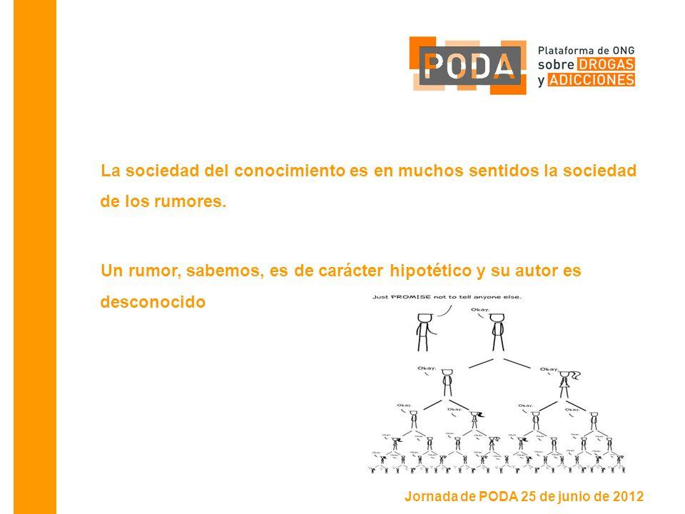 Jornada de PODA 25 de junio de 2012 La sociedad del conocimiento es en muchos sentidos la sociedad de los rumores.