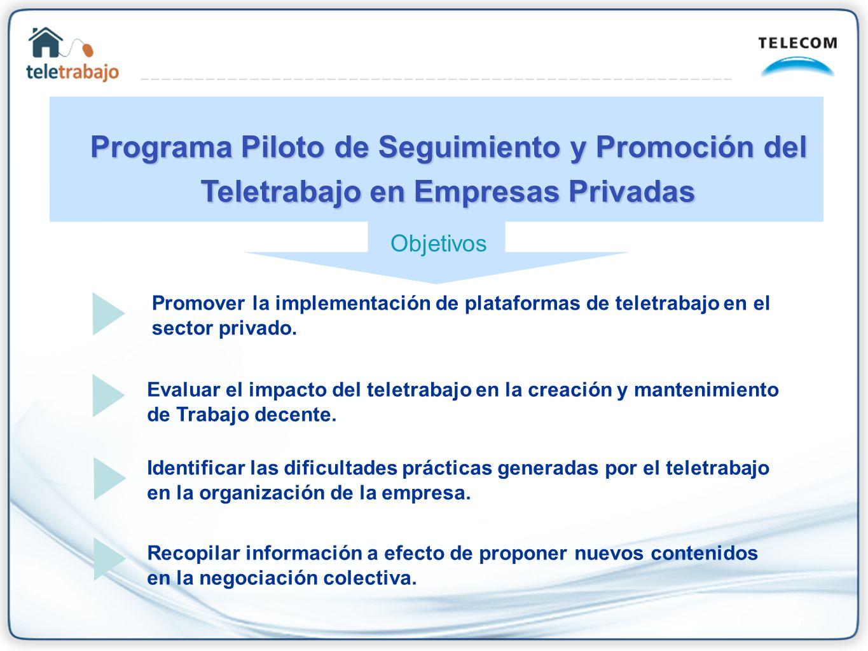 Promover la implementación de plataformas de teletrabajo en el sector privado. Evaluar el impacto del teletrabajo en la creación y mantenimiento de Tr