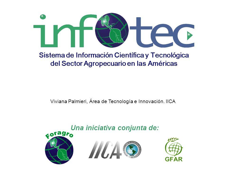 Una iniciativa conjunta de: Sistema de Información Científica y Tecnológica del Sector Agropecuario en las Américas Viviana Palmieri, Área de Tecnología e Innovación.