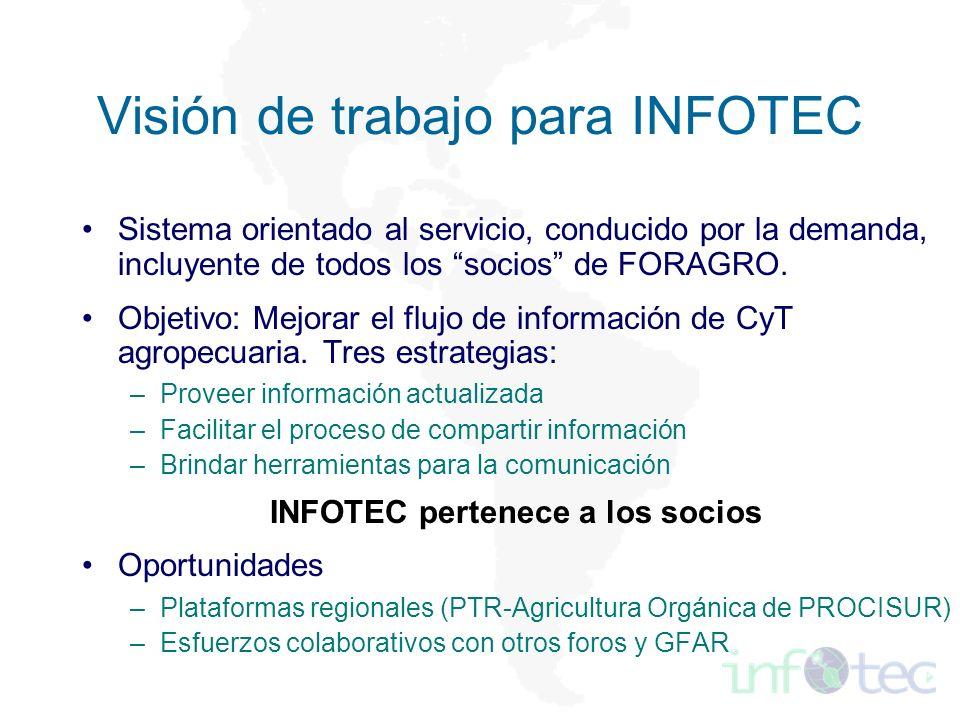 Visión de trabajo para INFOTEC Sistema orientado al servicio, conducido por la demanda, incluyente de todos los socios de FORAGRO.