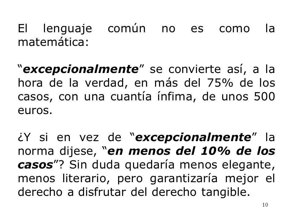 10 El lenguaje común no es como la matemática: excepcionalmente se convierte así, a la hora de la verdad, en más del 75% de los casos, con una cuantía ínfima, de unos 500 euros.