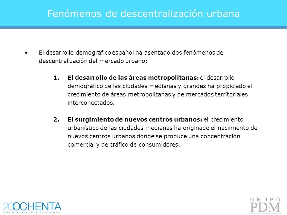 Fenómenos de descentralización urbana El desarrollo demográfico español ha asentado dos fenómenos de descentralización del mercado urbano: 1.El desarrollo de las áreas metropolitanas: el desarrollo demográfico de las ciudades medianas y grandes ha propiciado el crecimiento de áreas metropolitanas y de mercados territoriales interconectados.