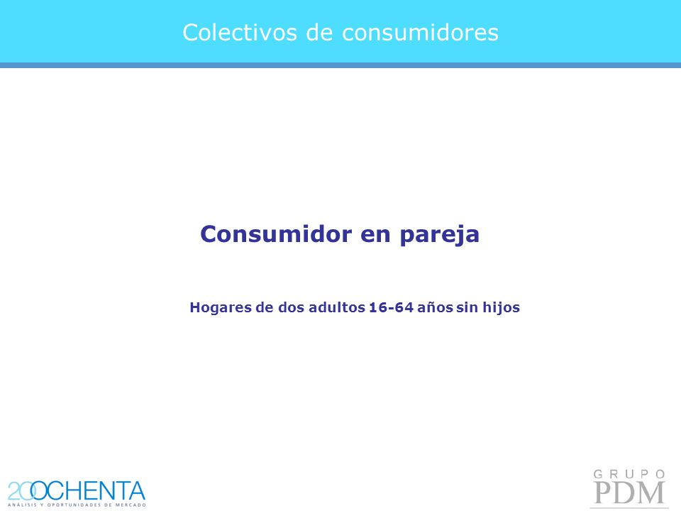 Consumidor en pareja Colectivos de consumidores Hogares de dos adultos 16-64 años sin hijos