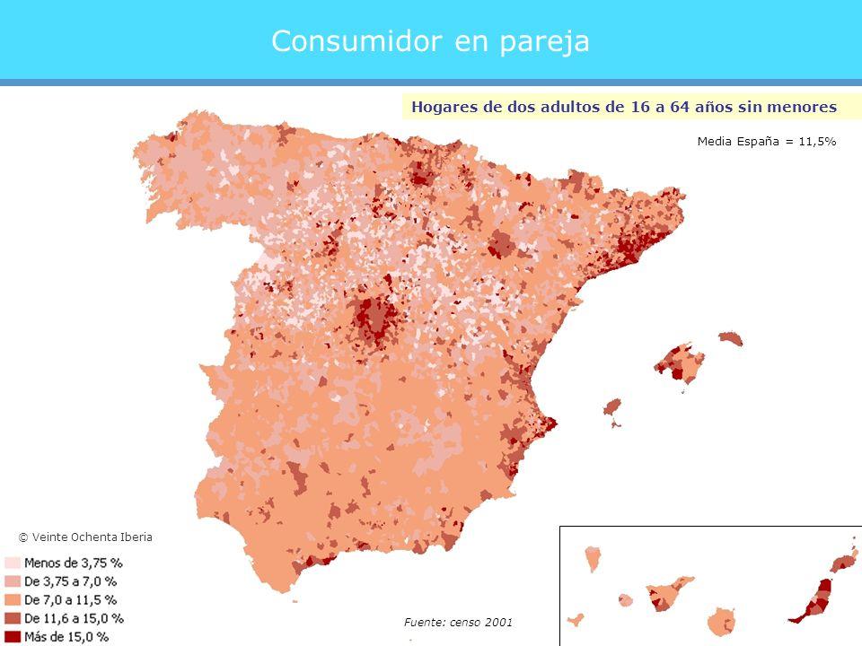 Consumidor en pareja Hogares de dos adultos de 16 a 64 años sin menores Fuente: censo 2001 Media España = 11,5% © Veinte Ochenta Iberia