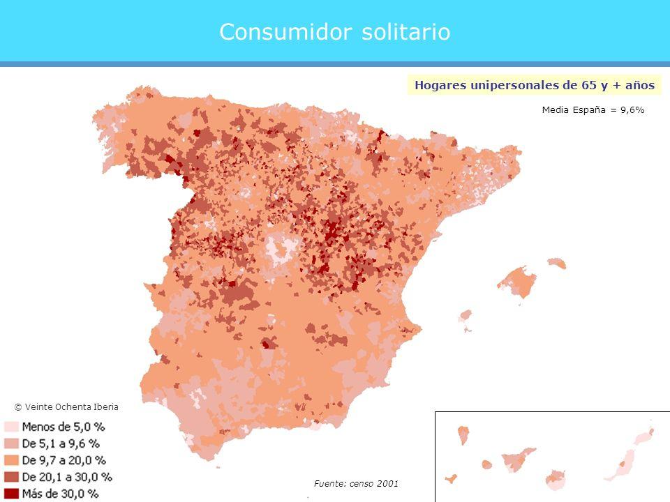 Consumidor solitario Hogares unipersonales de 65 y + años Fuente: censo 2001 Media España = 9,6% © Veinte Ochenta Iberia