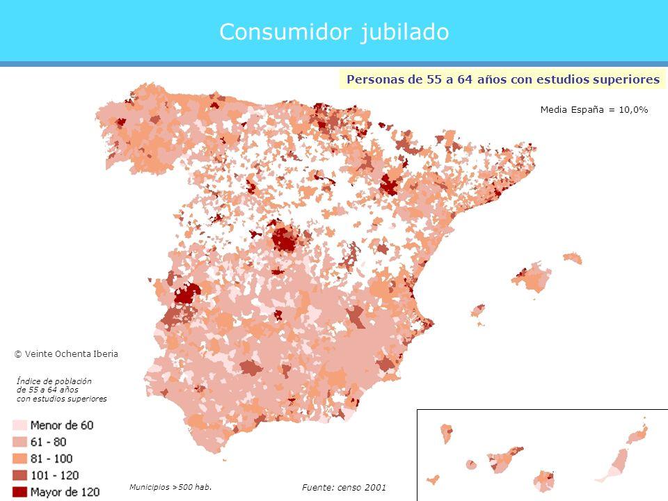 Consumidor jubilado Personas de 55 a 64 años con estudios superiores Índice de población de 55 a 64 años con estudios superiores Media España = 10,0% Municipios >500 hab.