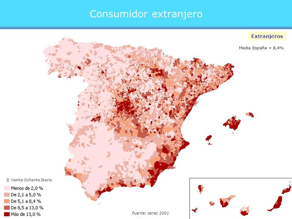 Consumidor extranjero Extranjeros Media España = 8,4% Fuente: censo 2001 © Veinte Ochenta Iberia