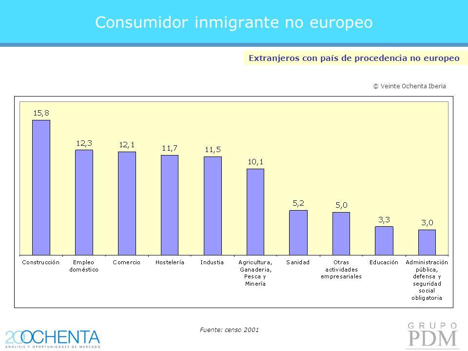Consumidor inmigrante no europeo Extranjeros con país de procedencia no europeo Fuente: censo 2001 © Veinte Ochenta Iberia