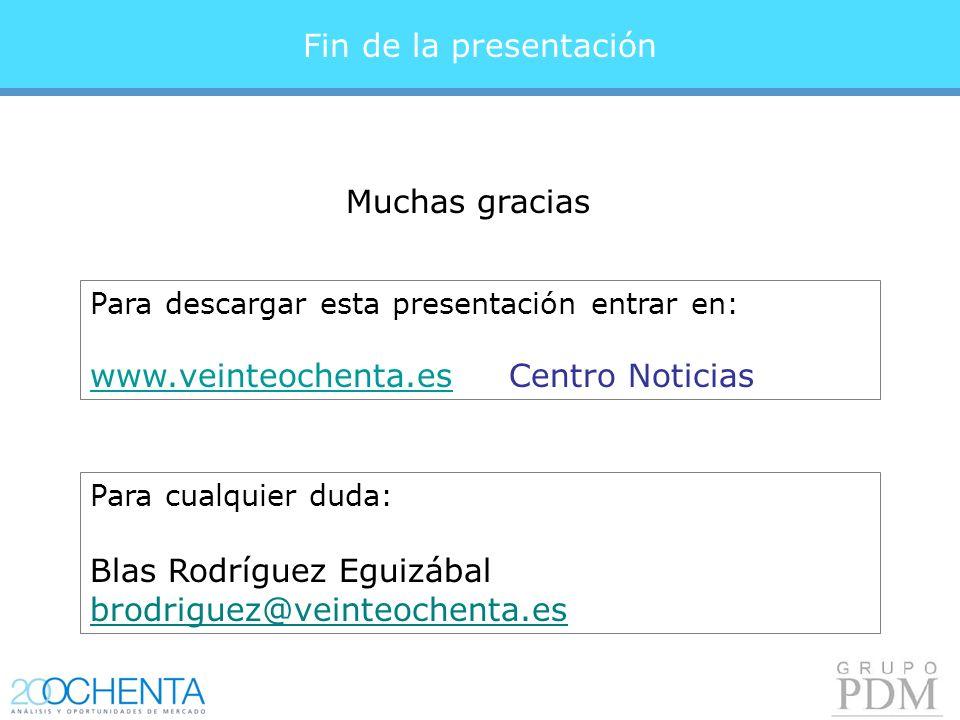 Fin de la presentación Para descargar esta presentación entrar en: www.veinteochenta.eswww.veinteochenta.es Centro Noticias Para cualquier duda: Blas Rodríguez Eguizábal brodriguez@veinteochenta.es Muchas gracias