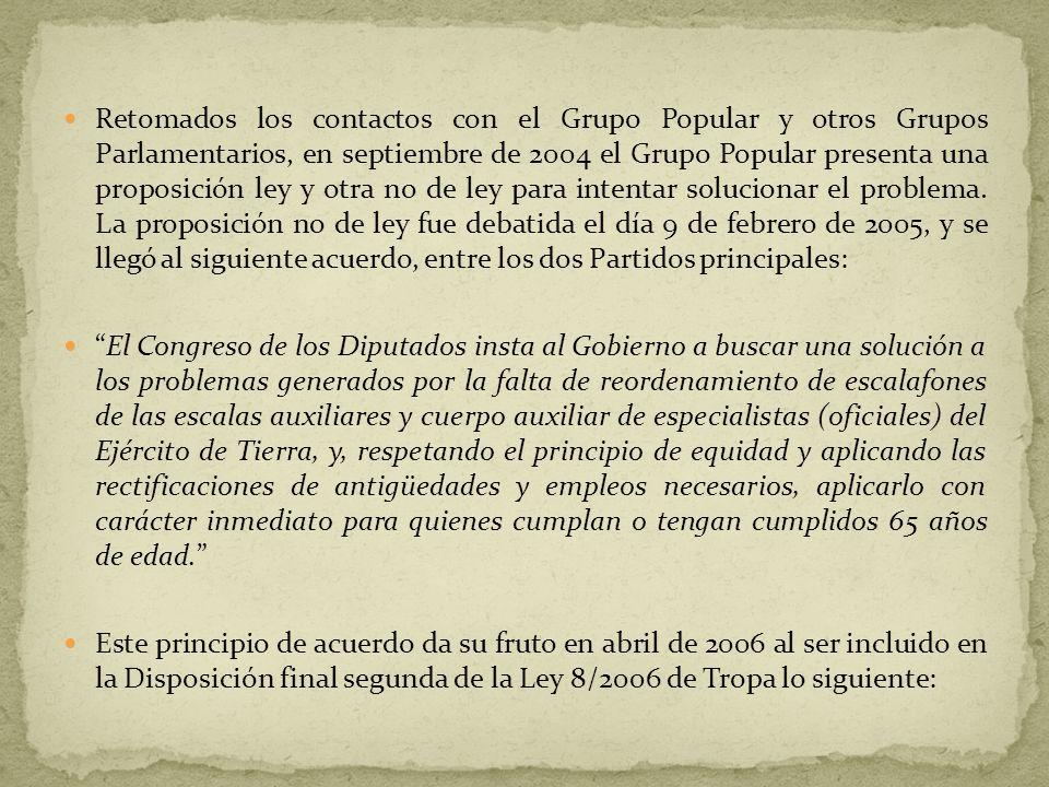 Retomados los contactos con el Grupo Popular y otros Grupos Parlamentarios, en septiembre de 2004 el Grupo Popular presenta una proposición ley y otra no de ley para intentar solucionar el problema.