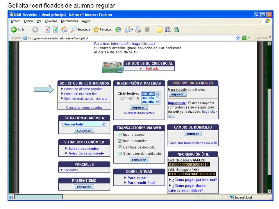 Solicitar certificados de alumno regular