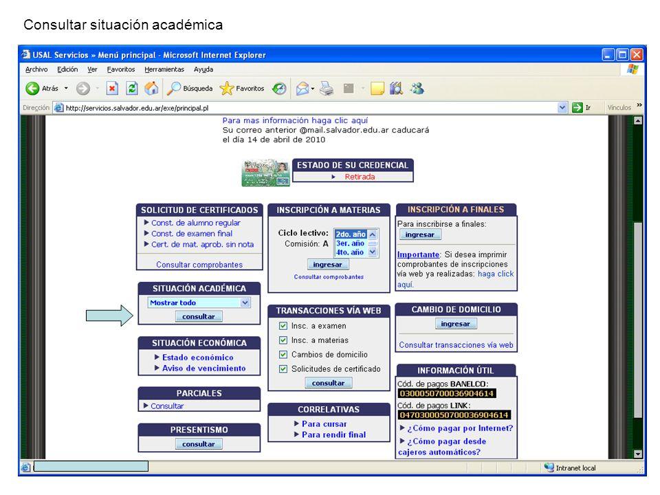 Consultar situación académica