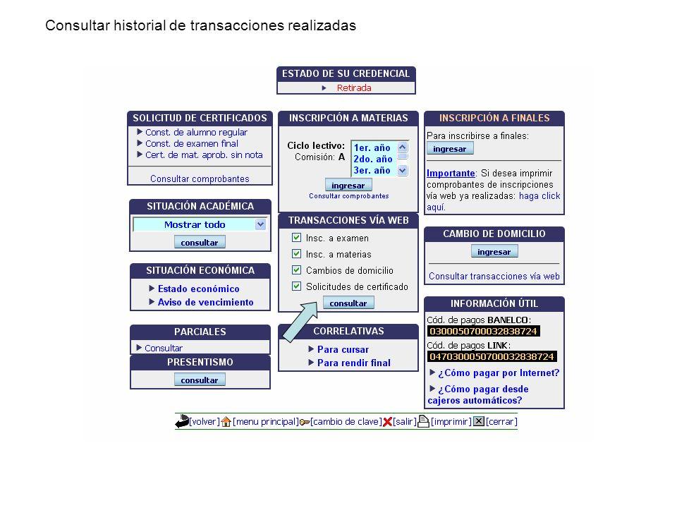 Consultar historial de transacciones realizadas