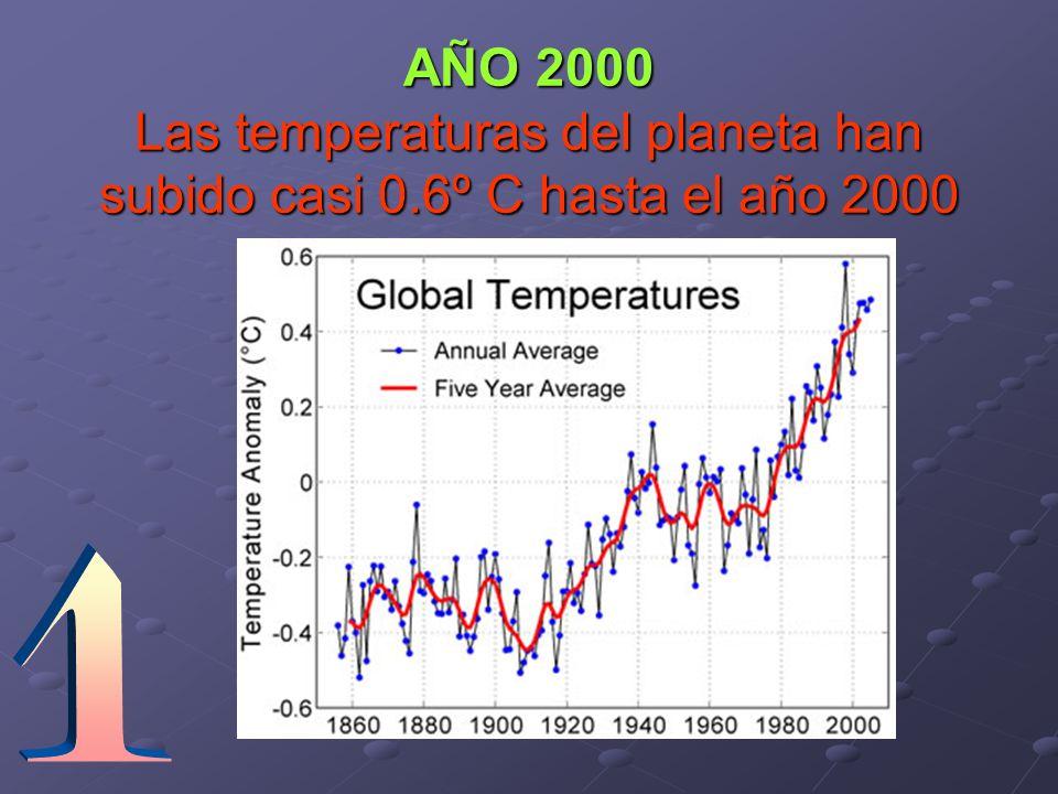 AÑO 2000 Las temperaturas del planeta han subido casi 0.6º C hasta el año 2000