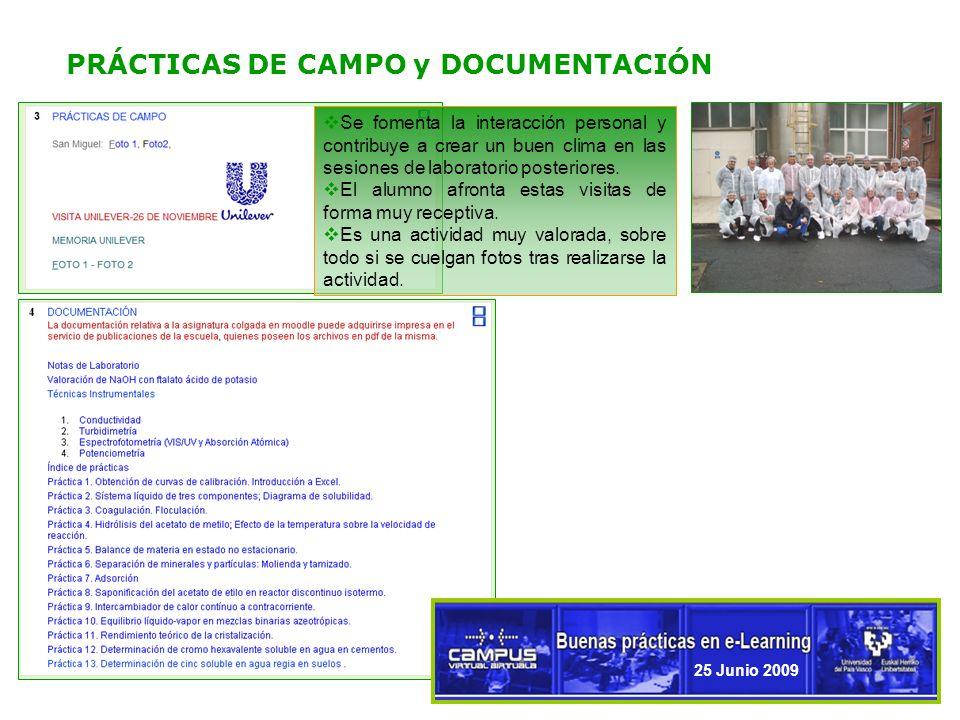 6 PRÁCTICAS DE CAMPO y DOCUMENTACIÓN 25 Junio 2009 Se fomenta la interacción personal y contribuye a crear un buen clima en las sesiones de laboratorio posteriores.