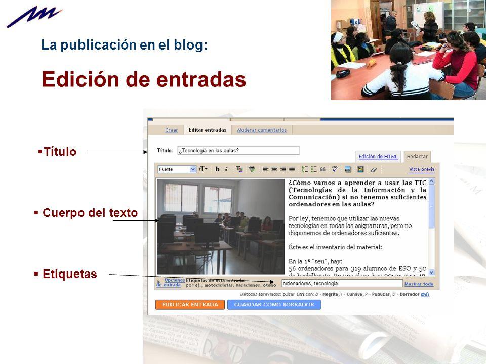 La publicación en el blog: Edición de entradas Título Cuerpo del texto Etiquetas