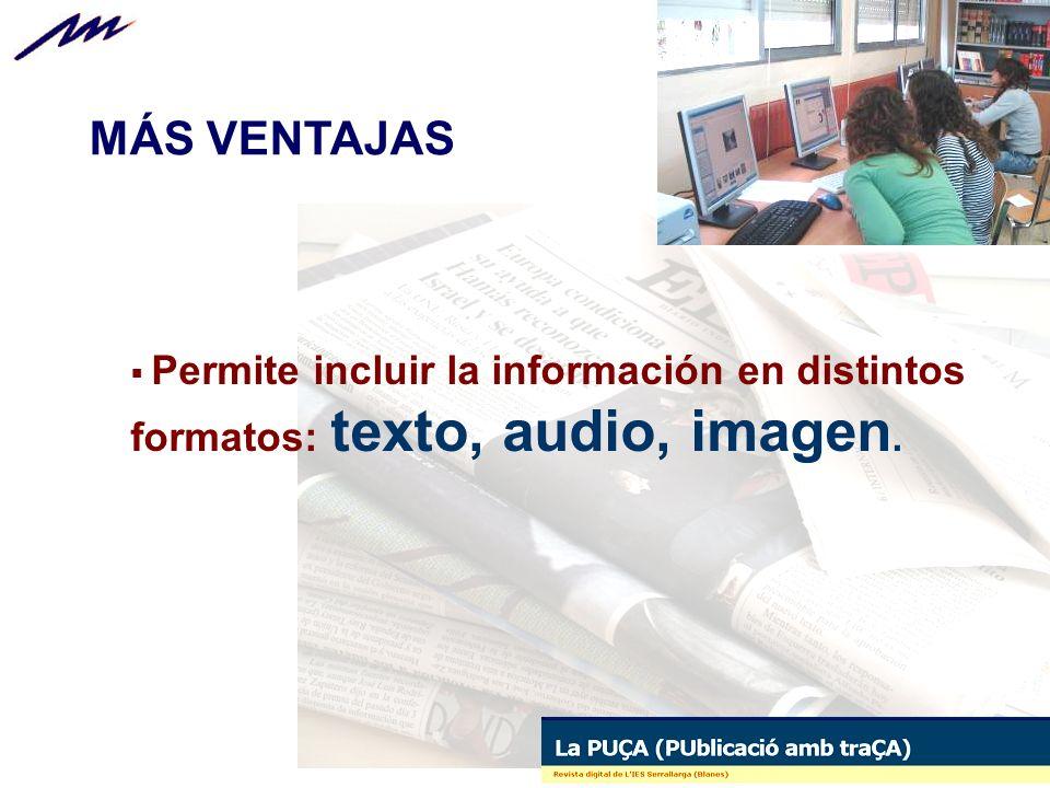 Permite incluir la información en distintos formatos: texto, audio, imagen. MÁS VENTAJAS